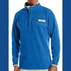 Columbia PFG Blue Yellow Trim Fleece Pullover M